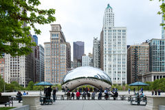 Famous Slivery Bean sculpture in Chicago Millennium Park in Chicago, Illinois Royalty Free Stock Image