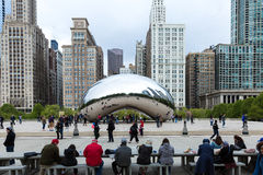 Famous Slivery Bean sculpture in Chicago Millennium Park in Chicago, Illinois Stock Photo