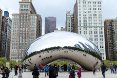 Famous Slivery Bean sculpture in Chicago Millennium Park in Chicago, Illinois Royalty Free Stock Images