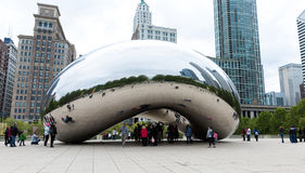 Famous Slivery Bean sculpture in Chicago Millennium Park in Chicago, Illinois Stock Images