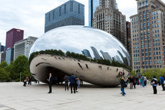 Famous Slivery Bean sculpture in Chicago Millennium Park in Chicago, Illinois Royalty Free Stock Photo