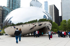Famous Slivery Bean sculpture in Chicago Millennium Park in Chicago, Illinois Royalty Free Stock Photography