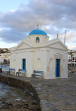 Famous Small Church with Blue Dome in Mykonos Royalty Free Stock Images