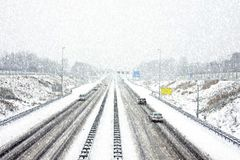 The famous A9 in a snowstorm in winter near Amsterdam Netherlands Stock Photos