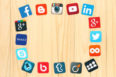 Famous social media icons Royalty Free Stock Photo