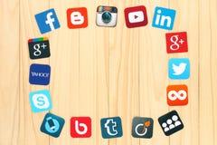 Famous social media icons. KIEV, UKRAINE - JULY 01, 2015: Famous social media icons such as: Facebook, Twitter, Blogger, Linkedin, Tumblr, Myspace and others Royalty Free Stock Photo