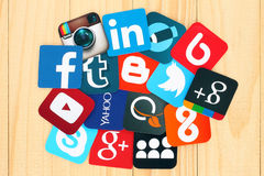 Famous social media icons Stock Photos