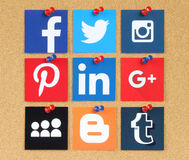 Famous social media pinned on cork bulletin board Royalty Free Stock Image