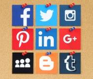 Famous social media pinned on cork bulletin board. Kiev, Ukraine - March 24, 2015: Famous social media icons such as: Facebook, Twitter, Blogger, Linkedin Royalty Free Stock Image