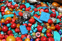 Stone,coral and turquoise souvenirs in shopping market. stock photo