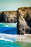 Famous Spanish destination, Cathedrals beach (playa de las cated Royalty Free Stock Image