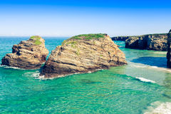 Famous Spanish destination, Cathedrals beach (playa de las cated Royalty Free Stock Photography