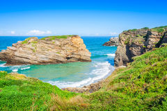 Famous Spanish destination, Cathedrals beach (playa de las cated Royalty Free Stock Photo