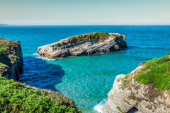 Famous Spanish destination, Cathedrals beach (playa de las cated Stock Image