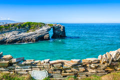 Famous Spanish destination, Cathedrals beach (playa de las cated Stock Images