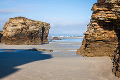 Famous Spanish destination, Cathedrals beach (playa de las cated Royalty Free Stock Images