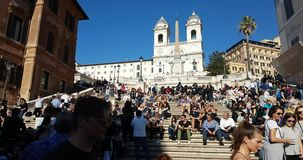 Famous Spanish Steps and the Church Trinit dei Monti at the top in Rome, Italy. Rome, Italy - April 2017:  Famous Spanish Steps and the Church Trinit dei Monti stock video