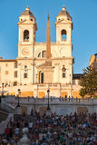 The famous Spanish Steps at Piazza di Spagna in central Rome at sunset Stock Photography