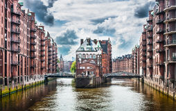 Famous Speicherstadt warehouse district in Hamburg, Germany Stock Photography