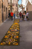 The famous Spello`s Infiorate. A manifestation which takes place every year in the small Umbrian town on the occasion of the Corpus Domini catholic feast stock images