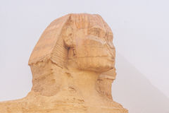 Great pyramids. Famous Sphinx and the great pyramids in fog and smog, Giza, Cairo, Egypt stock photos
