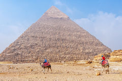 Great pyramids in Cairo. Famous Sphinx and the great pyramids in fog and smog, Giza, Cairo, Egypt stock image