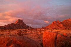 Famous Spitzkoppe at sunset. Famous Spitzkoppe, granites more than 700 million years old. Namibia. Africa royalty free stock photography