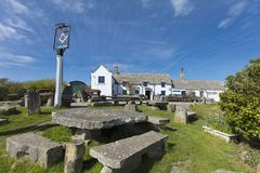 Famous Square and Compass Pub in Worth Matravers, Dorset, United stock photos