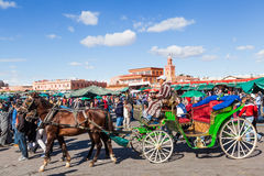 On the famous square Djema el Fnaa in Marrakesh Royalty Free Stock Photo