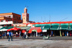 At the famous square Djema el Fnaa in Marrakesh Royalty Free Stock Photos