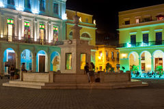 Famous square in Old Havana illuminated at night Stock Image