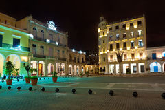 Famous square in Old Havana illuminated at night Royalty Free Stock Image