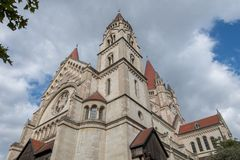 The famous St Francis of Assisi Church in Mexicoplatz, Vienna, A. Ustria Royalty Free Stock Image