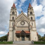 The famous St Francis of Assisi Church in Mexicoplatz, Vienna, A. Ustria Royalty Free Stock Photos
