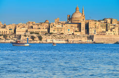 The famous St.Paul`s Cathedral in Valletta at sunset Royalty Free Stock Image