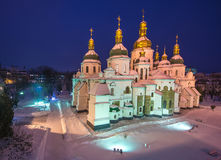 The famous St. Sophia Cathedral in Kiev. At night royalty free stock image