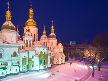 The famous St. Sophia Cathedral in Kiev. At night royalty free stock photos