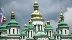 Famous St. Sophia Cathedral in Kiev, Ukraine. Model of he cathedral that is one of the city's best known landmarks and the first patrimony on territory of stock video footage