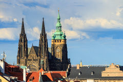 Famous St. Vitus Cathedral Prague, Czech Republic. Sunny evening royalty free stock photo