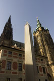Famous St. Vitus Cathedral and Prague obelisk Royalty Free Stock Photos