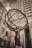 The famous Statue of Atlas holding the celestial spheres in New Stock Image