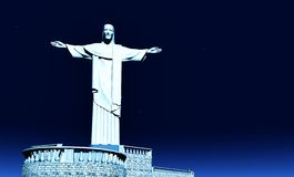 Christ the Reedemer at night Royalty Free Stock Image