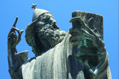 Famous statue in Croatia. Famous bronze statue of bishop in Croatia, Europe Royalty Free Stock Photos