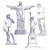 Famous statues drawings Stock Images