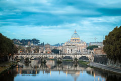 Famous Stone Arch Medieval Bridge in Italy. Famous Historic Stone Arch Medieval River Bridge with Basilica Saint Peter View in Rome Italy Stock Photos