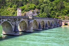 Famous Stone Bridge on the Drina river in Visegrad. Work Mehmed Pasha Sokolovic, constructed between 1571 and 1577 by architect Mimar Sinan, Bosnia and stock image