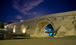 Famous Stone bridge in Skopje Royalty Free Stock Photos