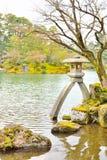 Famous stone lantern, Kotoji-toro, in Kenroku-en garden Stock Images