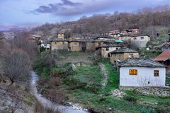 Famous stone roofs of historic village Gostusa also known as stone village stock images