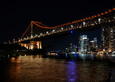Famous Story Bridge & Riverside buildings in Brisbane Stock Photos